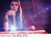 Купить «Composite image of portrait of fortune teller with pendulum», фото № 16402310, снято 21 апреля 2019 г. (c) Wavebreak Media / Фотобанк Лори