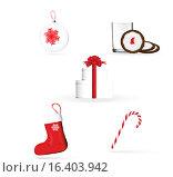 Рождественские предметы на белом фоне. Стоковая иллюстрация, иллюстратор Фёдор Мешков / Фотобанк Лори