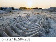 Купить «Расчищенная от снега площадка для строительства.След трактора на снегу.», фото № 16584258, снято 18 декабря 2015 г. (c) Алексей Маринченко / Фотобанк Лори