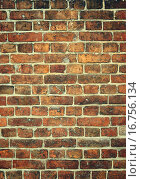 Купить «Кирпичная стена, фон», фото № 16756134, снято 17 декабря 2015 г. (c) Олеся Новицкая / Фотобанк Лори