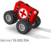 Медицинская аптечка спешит на помощь. Стоковая иллюстрация, иллюстратор WalDeMarus / Фотобанк Лори