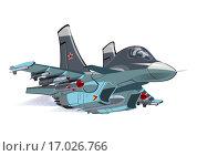 Мультяшный военный самолет. Стоковая иллюстрация, иллюстратор Александр Володин / Фотобанк Лори