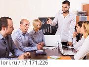 Купить «upset business team in office», фото № 17171226, снято 18 февраля 2019 г. (c) Яков Филимонов / Фотобанк Лори