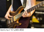 Купить «close up of musician with guitar at music studio», фото № 17249450, снято 11 декабря 2014 г. (c) Syda Productions / Фотобанк Лори
