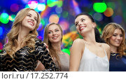Купить «happy young women dancing at night club disco», фото № 17252774, снято 21 ноября 2015 г. (c) Syda Productions / Фотобанк Лори