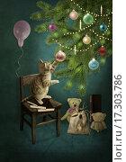 Котенок и новогодняя елка с игрушками. Стоковая иллюстрация, иллюстратор Маргарита Нижарадзе / Фотобанк Лори