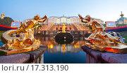 """Парадный вид на фонтан """"Самсон"""" и Большой дворец. Петергоф, эксклюзивное фото № 17313190, снято 11 сентября 2015 г. (c) Литвяк Игорь / Фотобанк Лори"""