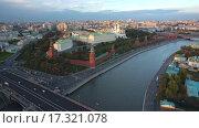 Купить «Москва, Кремль. Вид с дрона», видеоролик № 17321078, снято 23 августа 2019 г. (c) kinocopter / Фотобанк Лори