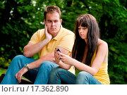 Купить «Relationship problems _ couple in park», фото № 17362890, снято 19 июня 2019 г. (c) easy Fotostock / Фотобанк Лори