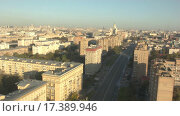 Купить «Москва на рассвете. Съемка с воздуха», видеоролик № 17389946, снято 25 июня 2019 г. (c) kinocopter / Фотобанк Лори