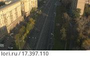 Купить «Москва на рассвете. Вертолетная съемка», видеоролик № 17397110, снято 19 марта 2019 г. (c) kinocopter / Фотобанк Лори