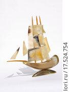 Купить «retro osseous sailing_ship souvenir», фото № 17524754, снято 21 апреля 2019 г. (c) easy Fotostock / Фотобанк Лори