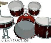 Купить «Drum Kit isolated on a white», фото № 17671558, снято 19 июня 2019 г. (c) easy Fotostock / Фотобанк Лори