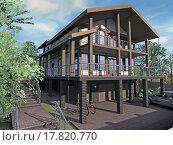 Дом с деревянными навесами и гаражом. Стоковая иллюстрация, иллюстратор Elizaveta Kharicheva / Фотобанк Лори