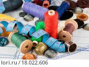 Купить «sewing supplies», фото № 18022606, снято 20 ноября 2018 г. (c) easy Fotostock / Фотобанк Лори
