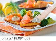 Купить «Potato patties with salmon», фото № 18091058, снято 23 января 2020 г. (c) easy Fotostock / Фотобанк Лори