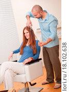 Купить «Professional hairdresser cut with scissors at salon», фото № 18102638, снято 19 января 2020 г. (c) easy Fotostock / Фотобанк Лори