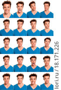 Купить «Young man face expressions composite isolated on white background», фото № 18171226, снято 16 октября 2019 г. (c) easy Fotostock / Фотобанк Лори