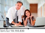 Купить «Manager and secretary working in the office», фото № 18193830, снято 17 ноября 2018 г. (c) easy Fotostock / Фотобанк Лори
