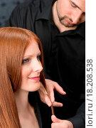 Купить «Professional hairdresser with fashion model at luxury salon», фото № 18208538, снято 19 января 2020 г. (c) easy Fotostock / Фотобанк Лори
