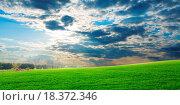 Купить «Sunset over green crops», фото № 18372346, снято 19 июля 2018 г. (c) easy Fotostock / Фотобанк Лори