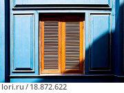 Купить «Wood window on blue wall», фото № 18872622, снято 20 февраля 2020 г. (c) easy Fotostock / Фотобанк Лори
