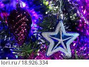 Купить «Ёлочные украшения на ёлке», фото № 18926334, снято 26 декабря 2015 г. (c) Роман Рожков / Фотобанк Лори