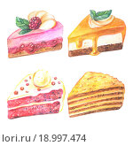 Куски торта. Рисунок акварельными карандашами. Стоковая иллюстрация, иллюстратор Наталия Жильцова / Фотобанк Лори