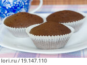 Купить «Шоколадные маффины домашнего приготовления на столе», фото № 19147110, снято 6 января 2016 г. (c) Елена Коромыслова / Фотобанк Лори
