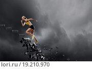 Купить «Sports woman overcoming challenges», фото № 19210970, снято 17 октября 2013 г. (c) Sergey Nivens / Фотобанк Лори