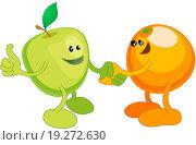 Купить «Apple and Orange happily shaking hands», фото № 19272630, снято 22 марта 2019 г. (c) easy Fotostock / Фотобанк Лори