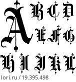 Купить «Vector Gothic Font», фото № 19395498, снято 21 августа 2019 г. (c) easy Fotostock / Фотобанк Лори