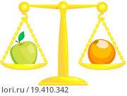 Купить «Balancing Or Comparing Apples With Oranges», фото № 19410342, снято 22 марта 2019 г. (c) easy Fotostock / Фотобанк Лори