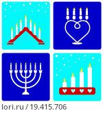 Купить «Four Christmas candleholders», фото № 19415706, снято 11 декабря 2018 г. (c) easy Fotostock / Фотобанк Лори