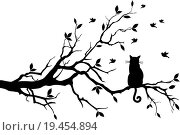 cat on tree, vector. Стоковое фото, фотограф dustypink / easy Fotostock / Фотобанк Лори