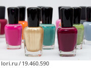 Купить «nail polish close up on a white background», фото № 19460590, снято 17 августа 2018 г. (c) PantherMedia / Фотобанк Лори