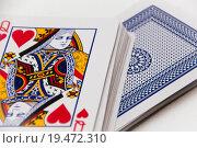 Купить «playing cards close up on a white background », фото № 19472310, снято 19 июля 2018 г. (c) PantherMedia / Фотобанк Лори