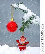 Купить «Merry Christmas postcard with Santa Claus in the snow», фото № 19505262, снято 19 марта 2019 г. (c) PantherMedia / Фотобанк Лори