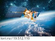 Купить «Space satellite over the planet earth», фото № 19512110, снято 9 февраля 2013 г. (c) Андрей Армягов / Фотобанк Лори