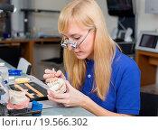 Купить «Dental lab technician applying porcelain to dentition mold», фото № 19566302, снято 20 января 2019 г. (c) easy Fotostock / Фотобанк Лори