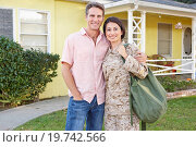 Купить «Husband Welcoming Wife Home On Army Leave», фото № 19742566, снято 29 октября 2012 г. (c) easy Fotostock / Фотобанк Лори