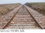 Railway tracks in a rural scene a dense foggy day, Badajoz, Spain. Стоковое фото, фотограф Juan García Aunión / easy Fotostock / Фотобанк Лори