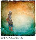 Armored knight with battle-axe - retro postcard on. Стоковое фото, фотограф Zoonar/A.Chernov / easy Fotostock / Фотобанк Лори