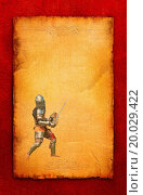 Armored knight with sword and shield - retro postc. Стоковое фото, фотограф Zoonar/A.Chernov / easy Fotostock / Фотобанк Лори