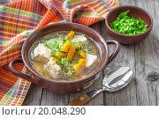 Купить «Meat soup», фото № 20048290, снято 18 июля 2013 г. (c) easy Fotostock / Фотобанк Лори