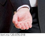 businessman holds empty handful. Стоковое фото, фотограф Zoonar/Valery Voenny / easy Fotostock / Фотобанк Лори