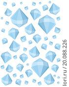 Граненые минералы разной формы на белом фоне. Стоковая иллюстрация, иллюстратор Ира Кураленко / Фотобанк Лори