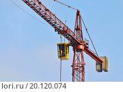 Купить «Строительный кран крупным планом», фото № 20120074, снято 10 января 2016 г. (c) Сергей Трофименко / Фотобанк Лори
