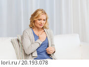 Купить «unhappy woman suffering from heartache at home», фото № 20193078, снято 27 ноября 2015 г. (c) Syda Productions / Фотобанк Лори