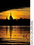 Купить «Nikolo Medvedsky Monastery in New Ladoga in suniset light. Novaya Ladoga, Volkhov district, Leningrad region, Russia», фото № 20204042, снято 29 сентября 2012 г. (c) easy Fotostock / Фотобанк Лори